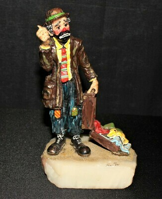 Ron Lee 1984 Knickers Emmett Kelly Hitchhiking Clown Sculpture Figurine #415