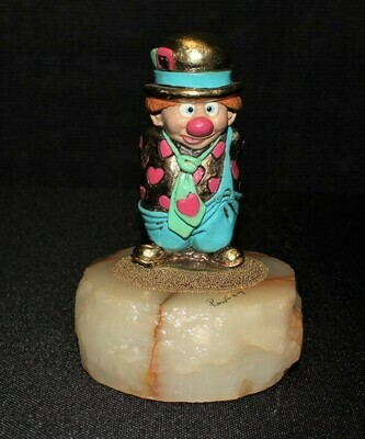 Ron Lee 1989 PUDGE Pink Hearts Clown Sculpture Figurine CCG2, Signed