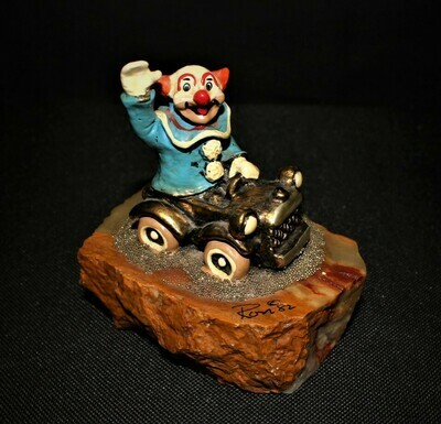 Ron Lee 1982 Bozo the Clown in Gold Car Sculpture Figurine, Signed