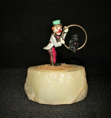 Ron Lee 1988 RASCAL Clown w/ Poodle Jumping Hoop Sculpture Figurine #CCG1