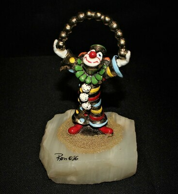 Ron Lee 1986 Clown Juggling Gold Balls Sculpture Figurine, Signed
