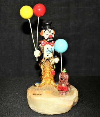 Ron Lee 1991 Hobo Clown and Dog Selling Balloons Figurine, Limited 590/1500