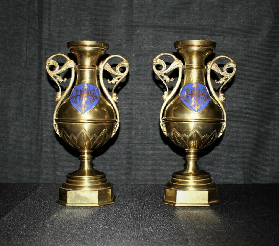 Rare Antique Pair of Brass Handle Blue Enamel Shields Candle Holder Urns, France