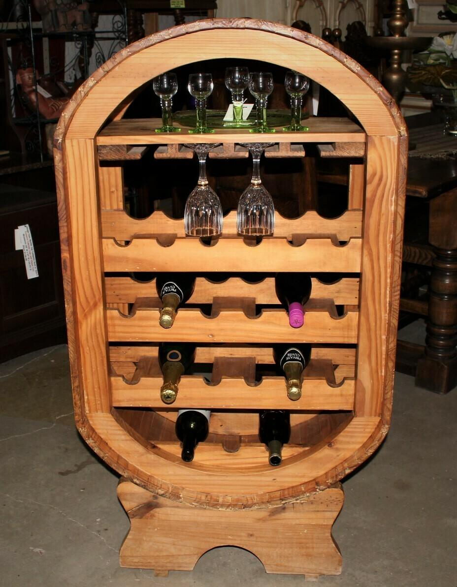 Vintage Solid Oak Freestanding Barrel Shape 21 Bottle Wine Holder Bar Display