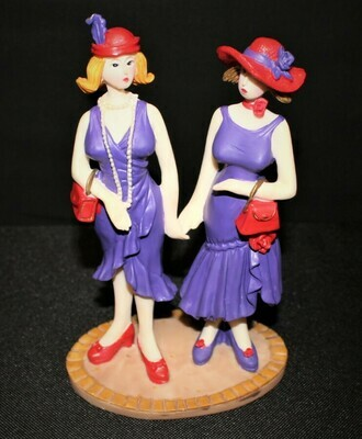 """Red Hat Society Ladies Friends Collectible 7"""" Figurine by Casual Living"""