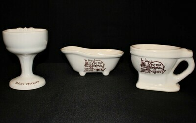 Bobby McGee's 3-Piece Set 1970's Ceramic Tub, Sink and Toilet Shaped Mugs
