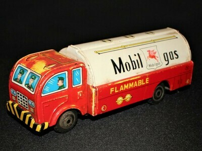 1930's Mobil Gas Advertising Tin Friction Tanker Toy Truck