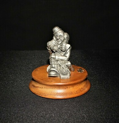 Ron Lee Fine Pewter Seated Hobo Clown Figurine on Telephone, Limited Edition