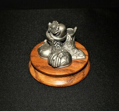Ron Lee Fine Pewter Clown Figurine Hidden Under Shoes, Gloves, Tie & Flower Hat