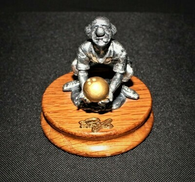 Ron Lee Fine Pewter Clown Bowling Hobo Sportsmen Collection on Wood Base