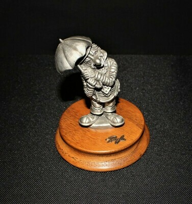 Ron Lee Fine Pewter Hobo Clown Holding Umbrella on Wood Base, Limited Edition