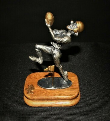 Ron Lee Fine Pewter Clown Football Player Hobo Sportsmen Collection on Wood Base