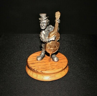 Ron Lee Fine Pewter Hobo Clown Playing Cello Band Collection Figurine on Base