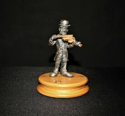Ron Lee Fine Pewter Clown Figurine Playing the Fiddler / Hobo Band Collection