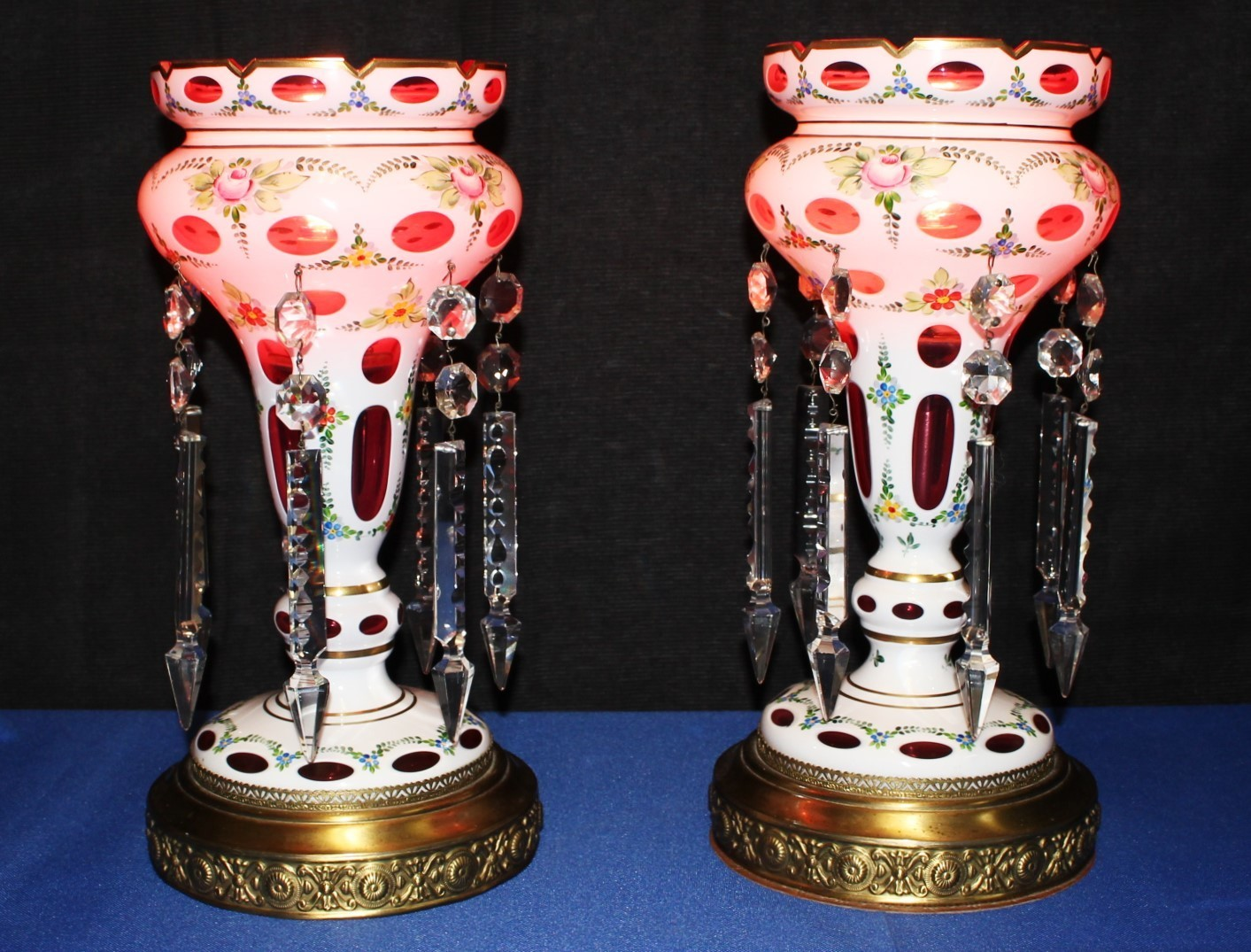 Pair of Bohemian Cranberry Cased Glass Luster Lamps w/ Crystal Spear Prisms