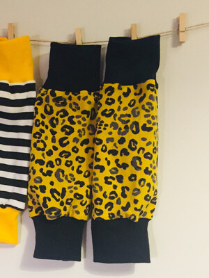 Mustard leopard print Baby Leg Warmers - alternative cuffs available