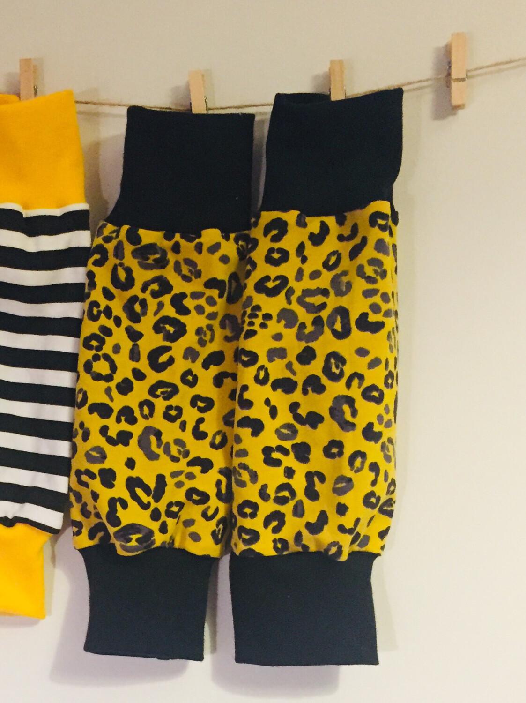 Mustard leopard print Baby Leg Warmers - alternative cuffs available