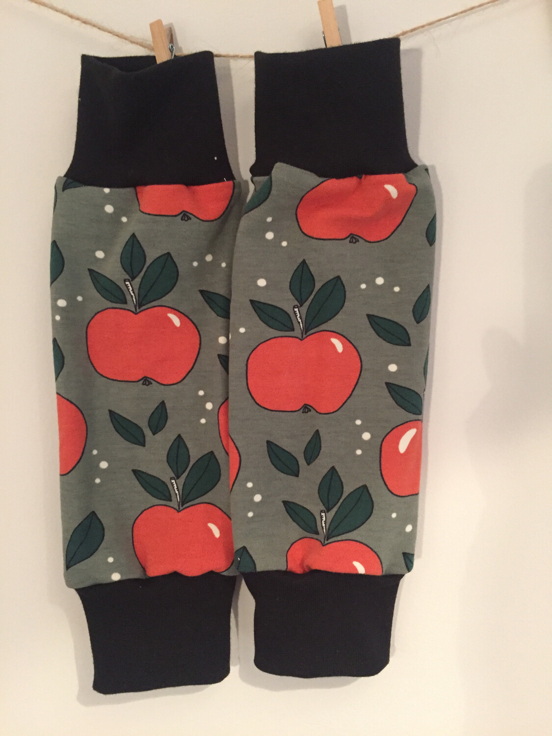Green & Red Apple Print Baby Leg Warmers - alternative cuffs available