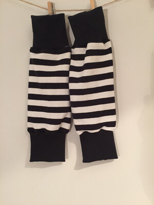 Black and White Striped Baby Leg Warmer- alternative Cuff available