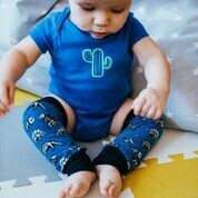 Blue Dinosaur Baby Leg Warmers - alternative cuffs available