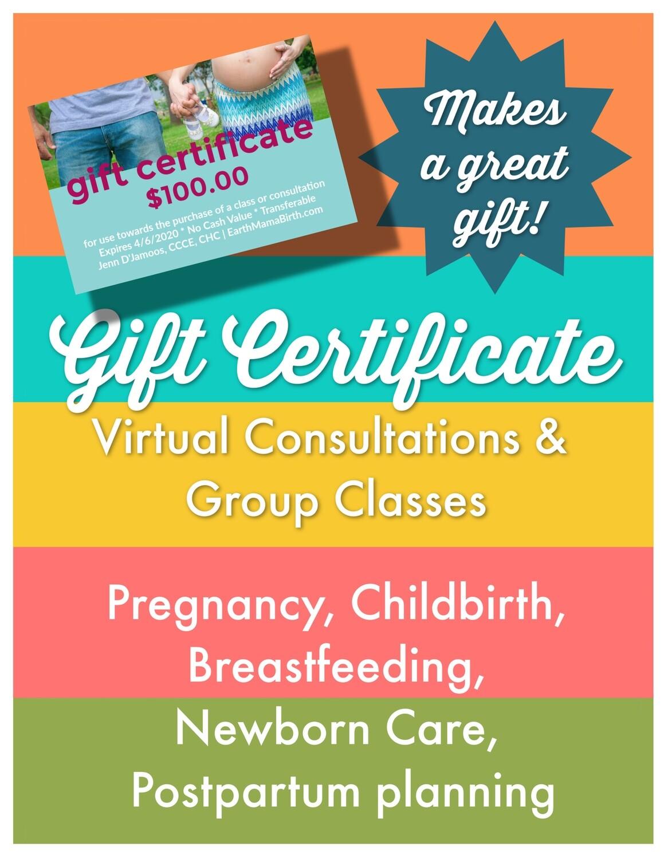 Earth Mama Birth Gift Certificate