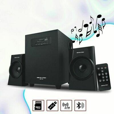مضخم صوت ريفولوشن قوي + 2 سماعات بلوتوث وراديو ومنفذ USB / SD