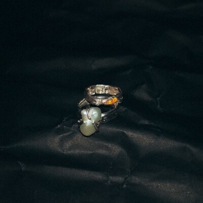 *SIZE 1–3 Peach Opal and White Pearl Ring Set