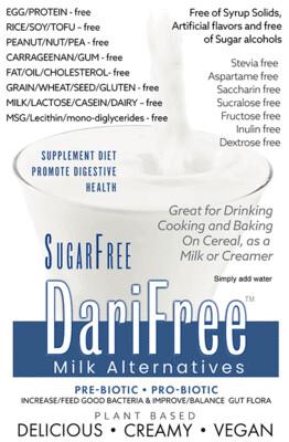 SugarFree DariFree Milk Alternative - 1KDFSF - ANTI-Viral -BOOST IMMUNE SYSTEM- Anti-inflammatory - Antioxidant AntiViral - 1Kg Resealable Bag (Makes 14-18 quarts)  Sugar-Free Dairy-free VEGAN