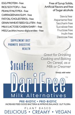 DFSF - SugarFree DariFree Milk Alternative -  (1 pack) (4-6 cups) - ANTI-Viral -BOOST IMMUNE SYSTEM- Anti-inflammatory - Antioxidant - Sugar-Free Dairy-free  Milk Alternative VEGAN