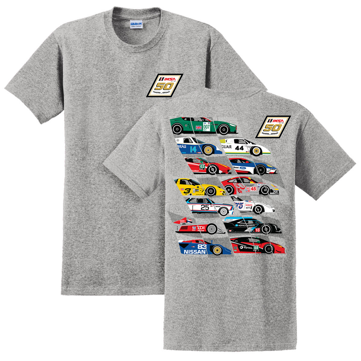 50th Car Montage Tee Ice Grey