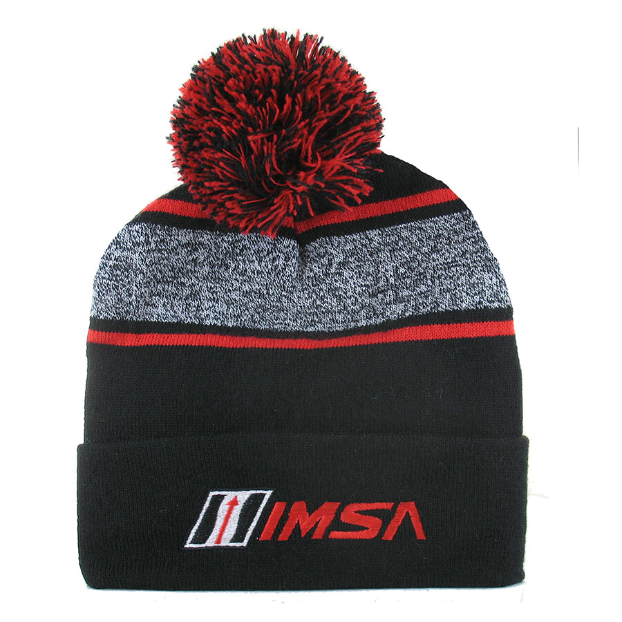 IMSA Knit Cap-Blk/Red/Heather