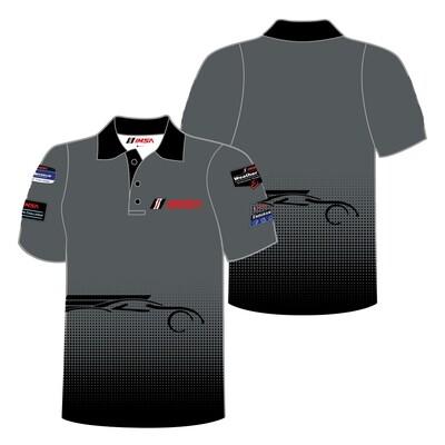 IMSA Logos/Car Outline Polo-Grey/Black