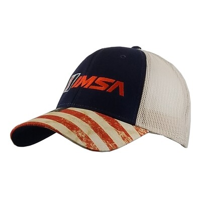 IMSA Mesh Trucker Cap-Navy/Flag visor