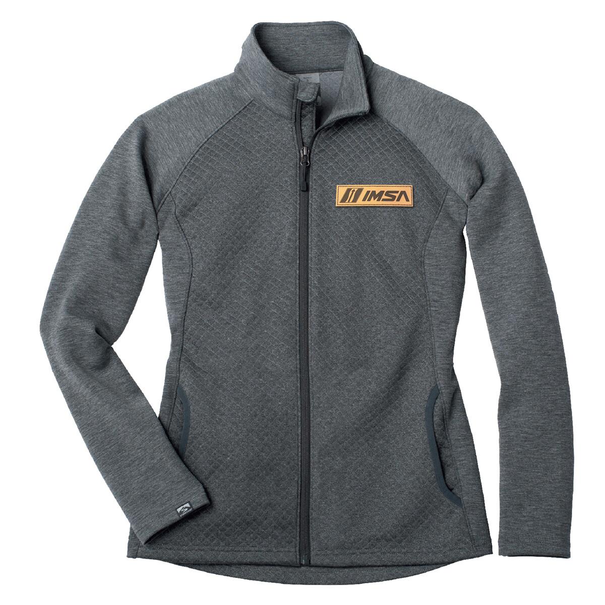 IMSA Ladies Diamond Fleece Full Zip Jacket - Rich Grey