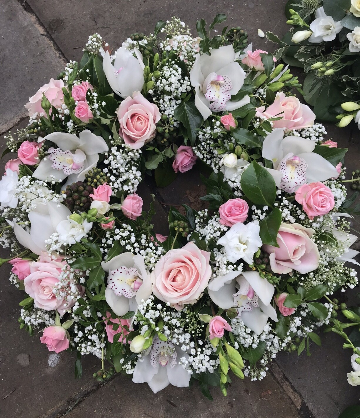 Pink and white orchid wreath