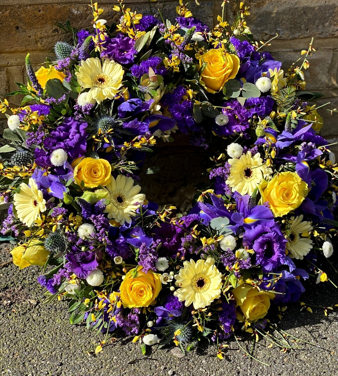 Lemon and blue country wreath