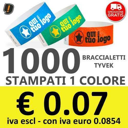 🔝 1000 Braccialetti Tyvek® con Stampa - SPEDIZIONE GRATIS