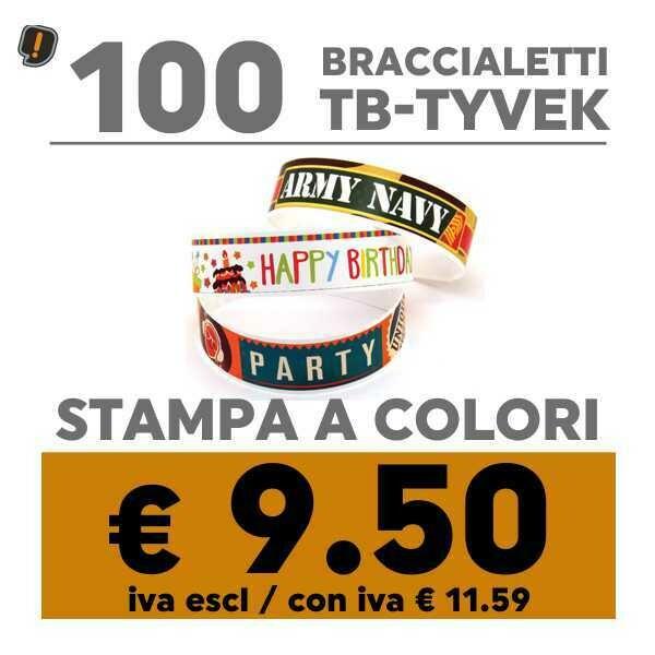 🔝 100 Braccialetti TB-Tyvek® Stampa a Colori