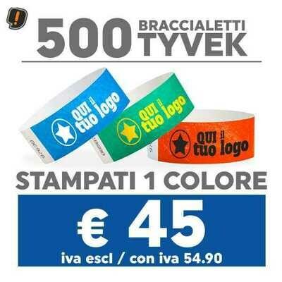 500 Braccialetti Tyvek® con Stampa SPEDIZIONE GRATIS
