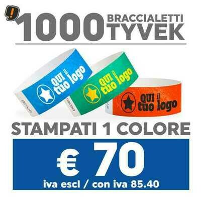 🔝 1000 Braccialetti Tyvek® con Stampa SPEDIZIONE GRATIS