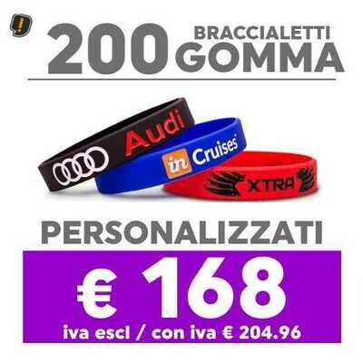 🔥 200 Bracciali Gomma Personalizzati SPED GRATIS