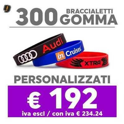 🔥 300 Bracciali Gomma Personalizzati SPED GRATIS
