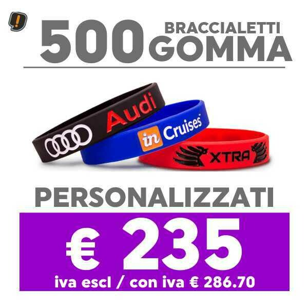 🔥 500 Bracciali Gomma Personalizzati SPED GRATIS