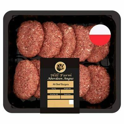 ( Frozen ) Hill Farm Aberdeen Angus Beef Burgers 1.135kg 1 x 10