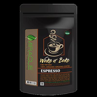 Wake N Bake CBD Organic Ground Coffee Espresso 300mg
