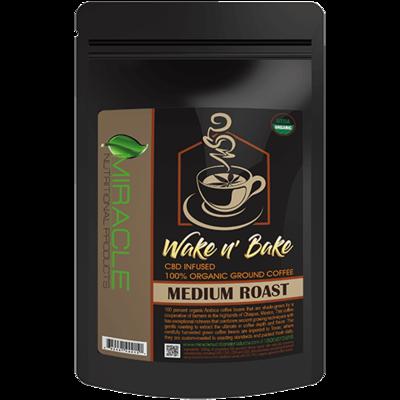 Wake N Bake CBD Organic Ground Coffee Medium Roast