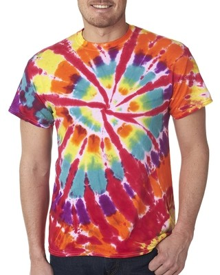 TIE-DYED - SHORT SLEEVE RAINBOW CUT-SPIRAL T-SHIRT