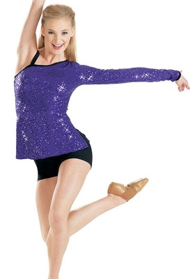 ASYMETRICAL SEQUIN STRETCH TOP