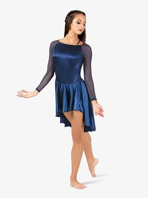 SATIN ASYMMETRICAL 3/4 SLEEVE DRESS