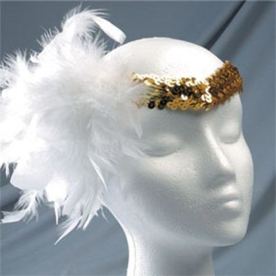SEQUIN HEADPIECE WITH WHITE BOA